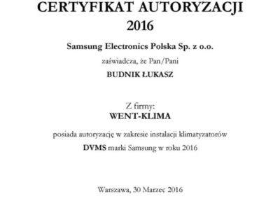 Certyfikat DVM Samsung 2016
