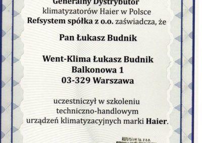 Certyfikat Haier 2016