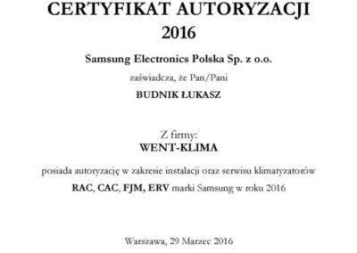 Certyfikat RAC, CAC, FJM, ERV Samsung 2016