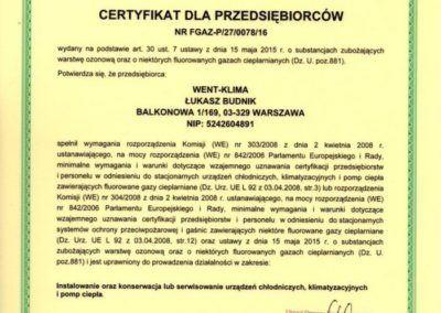Certyfikat Urz¦ůd Dozoru Technicznego